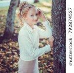 child walking in the park.   Shutterstock . vector #792874537