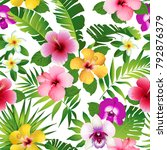 tropical flowers and leaves on... | Shutterstock . vector #792876379