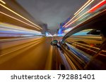view from side of car moving in ... | Shutterstock . vector #792881401