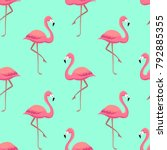 pink flamingos seamless pattern | Shutterstock .eps vector #792885355