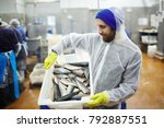 staff of seafood produstion in... | Shutterstock . vector #792887551