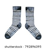 pair of striped socks  black... | Shutterstock . vector #792896395