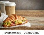 Croissant Sandwich With Ham An...