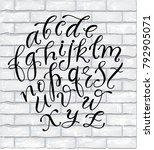 handwritten script font on... | Shutterstock .eps vector #792905071