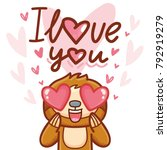 cute sloth character with... | Shutterstock .eps vector #792919279