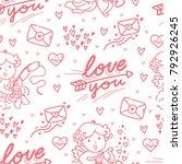 seamless love pattern for... | Shutterstock .eps vector #792926245