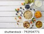 healthy food  healthy muesli... | Shutterstock . vector #792934771
