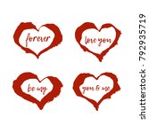 set of red hand drawn hearts... | Shutterstock .eps vector #792935719