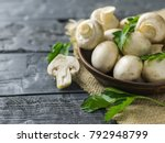 fresh mushrooms in a clay bowl...   Shutterstock . vector #792948799