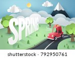 paper art of red car stop at... | Shutterstock .eps vector #792950761