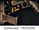 closeup of two pistols handguns ... | Shutterstock . vector #792952294