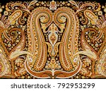paisley horizontal border with... | Shutterstock . vector #792953299