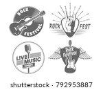 rock fest badges. vintage... | Shutterstock .eps vector #792953887