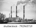 smoking chimneys of the plant.... | Shutterstock . vector #792965719