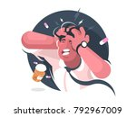 grimace of man with severe... | Shutterstock .eps vector #792967009