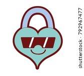 line color happy heart padlock... | Shutterstock .eps vector #792967477