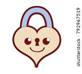 line color smile heart padlock... | Shutterstock .eps vector #792967519
