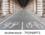 bike path under bercy bridge in ... | Shutterstock . vector #792968971