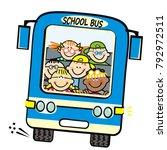 blue bus and kids  school bus ... | Shutterstock .eps vector #792972511