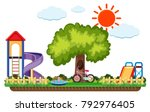 scene of playground with slides ... | Shutterstock .eps vector #792976405