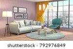 interior living room. 3d...   Shutterstock . vector #792976849