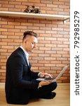 business multitasking man using ... | Shutterstock . vector #792985279