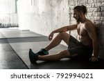 young muscular man resting... | Shutterstock . vector #792994021
