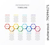 horizontal timeline with eight... | Shutterstock .eps vector #792994171