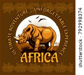 African Landscape And Rhino  ...