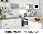 modern kitchen interior with... | Shutterstock . vector #793002769