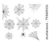 Set Of Spider Web Vector...