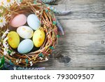 Small photo of Happy Easter. Congratulatory easter background. Easter eggs and flowers.