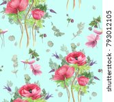 seamless floral pattern with...   Shutterstock . vector #793012105