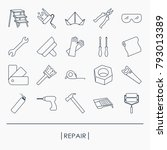 collection of outline repair... | Shutterstock .eps vector #793013389