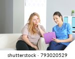 young female doctor consulting... | Shutterstock . vector #793020529