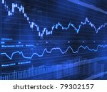 stock market chart on blue... | Shutterstock . vector #79302157