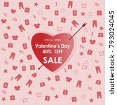 valentine's day 40  off sale... | Shutterstock .eps vector #793024045
