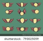set of champions award doodled... | Shutterstock .eps vector #793025059