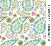 traditional retro paisley... | Shutterstock .eps vector #793030645