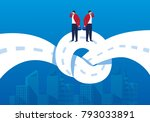 businessman stands on the... | Shutterstock .eps vector #793033891