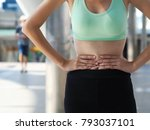 cropped stomach of sport girl... | Shutterstock . vector #793037101