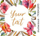 wildflower spica flower frame... | Shutterstock . vector #793041895
