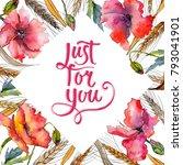 wildflower spica flower frame... | Shutterstock . vector #793041901