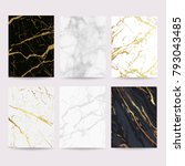 Marble with golden texture background vector illustration set | Shutterstock vector #793043485