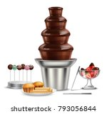 colored chocolate fountain... | Shutterstock . vector #793056844