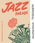 jazz parade flyer poster art... | Shutterstock .eps vector #793056859