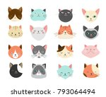 collection of cats... | Shutterstock .eps vector #793064494