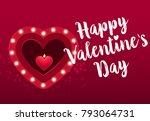 happy valentines day lettering... | Shutterstock .eps vector #793064731