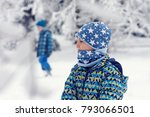 portrait of a child in snow