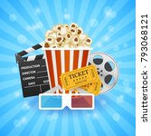 cinema banner. movie watching... | Shutterstock .eps vector #793068121